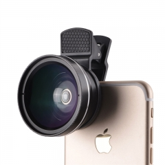 2 in1 0.45X Super Wide Angle Lens+Macro Lens HD Camera Lens For Smart Phones Table black 0.45x