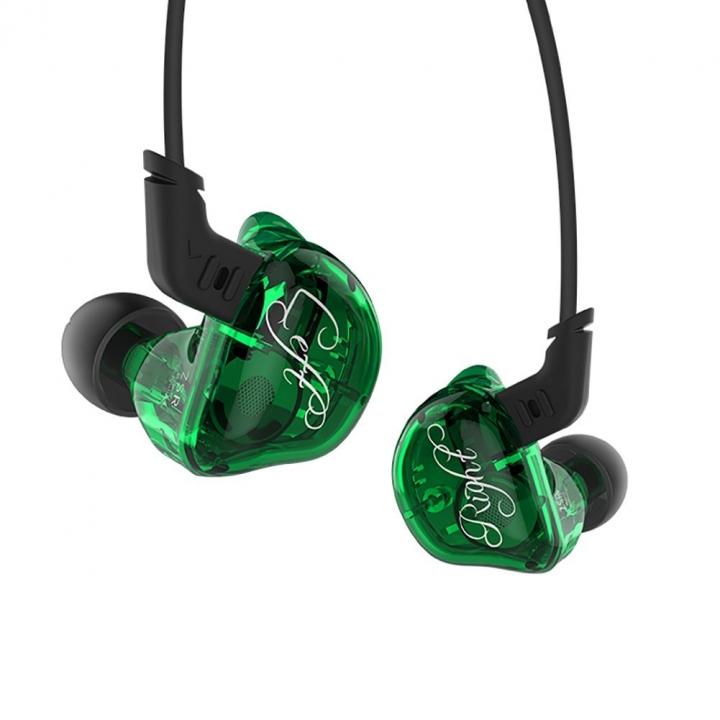 ZSR Balanced Armature+Dynamic 1DD+2BA Hybrid Dual Driver HIFI Bass In-ear Earphones for Cellphones green