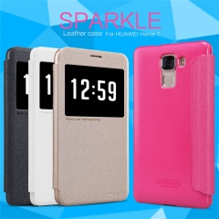 [Sparkle] PU Leather Case Cover Flip Cover PC Back Shell Folio Case for Huawei Honor 7 balck a