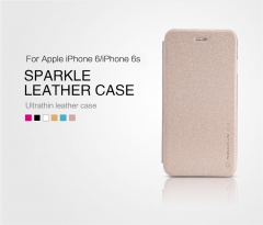 [Sparkle] PU Leather Case Cover Flip Cover PC Back Shell Folio Case for iPhone 6 gold a