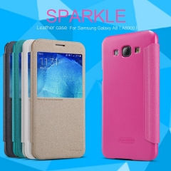 [Sparkle] PU Leather Case Cover Flip Cover PC Back Shell Folio Case for Samsung A8 (A8000) gold a