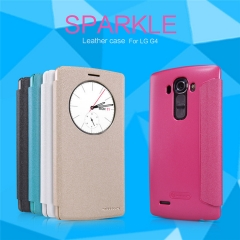 [Sparkle] PU Leather Case Cover Flip Cover PC Back Shell Folio Case for LG G4 white a