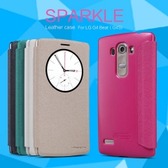 [Sparkle] PU Leather Case Cover Flip Cover PC Back Shell Folio Case for LG G4 Beat (G4S) balck a