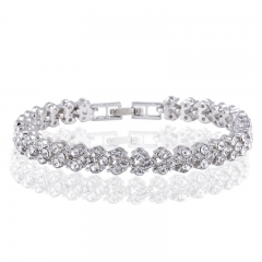 Women Rhinestone Crystal Alloy Tennis Bracelet Bangle Jewelry For Girls Women Wedding Silver 17cm