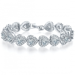 Women's Full Zircon Elegant Heart-shaped Roman Tennis Bracelet Jewelry For Girls Women Wedding silver 19cm