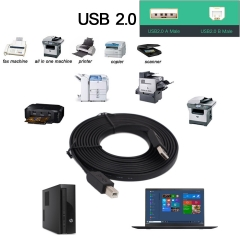 5M USB 2.0 - A Male to B Male Cable - High-Speed /Gold-Plated Connectors for HP, Canon, etc Black