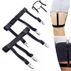 Dress Shirt Stays for Men & Women, Adjustable Garter Belts Non-slip Clamps for Suit or Uniform ect Black One SIze