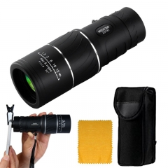 16x52 Dual Focus Monocular Telescope, Low Light Night Vision with Clip for Camping  Traveling black one size