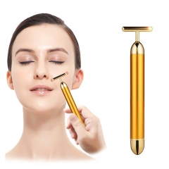 24k Golden Pulse Facial Massager, T-Shape Face Massage Tools for Skin Face Pull Tight Firming Lift Gold