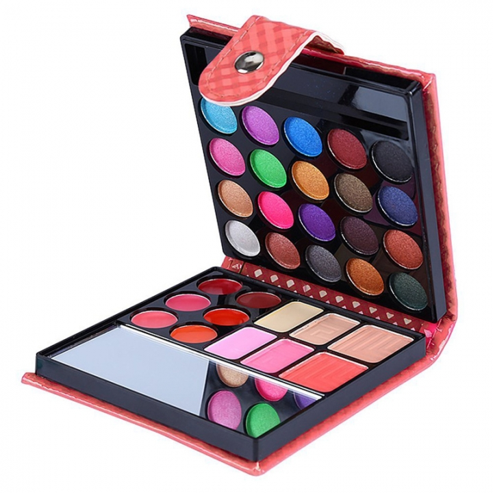 32 Colors Makeup Eyeshadow Cosmetic Palette ,Eye Shadow+Blusher+Lip Gloss+Face Contouring Powder Rose Red