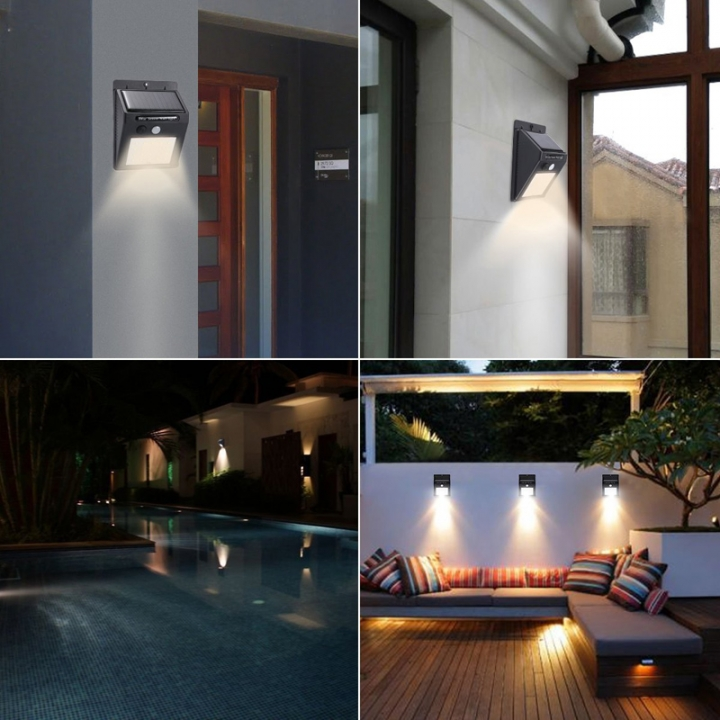 20 LED Wireless Weatherproof Solar Powered Wall Lights With Activated Auto On/Off For Garden,Yard Black 4W