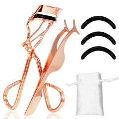Makeup Tools Set with Eyelash Curler, Mini Slant Tweezer & Refill Pads Fits for Various Beauty Girls rose gold
