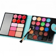 32 Colors Makeup Eyeshadow Cosmetic Palette ,Eye Shadow+Blusher+Lip Gloss+Face Contouring Powder Blue