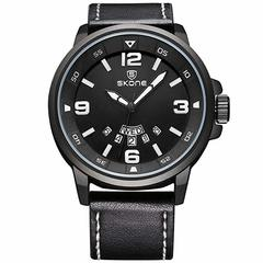 Skone Leather Watch Men's Night Watch Calendar Japan Quartz Movement Watch black one sizde