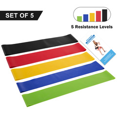 Resistance Loop Bands Set of 5 - Home Gym Fitness Exercise Bands for Legs, Glutes, Pilates Yoga ect mix set of 5
