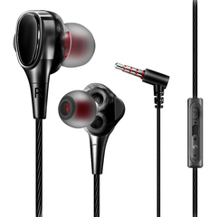 Double Dynamic Driver In Ear Earphone HiFi Stereo Bass Headset With Mic For iPhone Huawei Samsung black