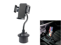 Cup Holder Phone Mount Universal Adjustable Car Mount for Huawei TECNO iPhone Samsung Infinix ect black abs