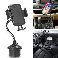 Portable Cup Phone Holder Car Mount with Adjustable Gooseneck for Huawei iPhone Infinix TECNO ECT black abs