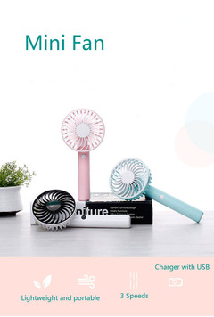 USB Charge Rechargeable Portable 3 Speeds Mini Handheld Fan for Home and Travel Blue