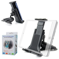 Universal Smartphone CD Slot Mount Holder - Compatible with 4-12 inch Smartphones, Tables, Ipads black abs