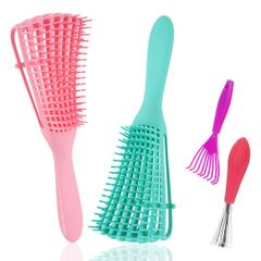 2PCS Hair Brush Massage Comb for Curly/Kinky Wavy,Wet/Dry,Long/Thick Hair With Cleaner Tool 2ps (mix color) 2pcs