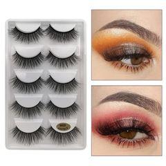 5 Pairs False Eyelashes Kit 3D Faux Mink Lashes Thick Fake Eye Lashes Handmade Reusable Eyelashes Black