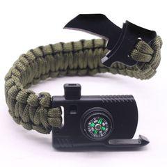 Men Bracelet Multi-Function Paracord Survival Bracelet Outdoor Camping Survival Emergency Rope Green FREE SIZE