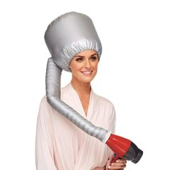 Bonnet Hood Hair Dryer Attachment Soft Adjustable Large Hair Drying Cap for Hair Care at Home silver universal
