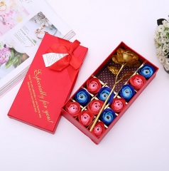 Creative New 12 Plus Gold Foil Rose Gift Box Valentine's Day Romantic Gift red normal