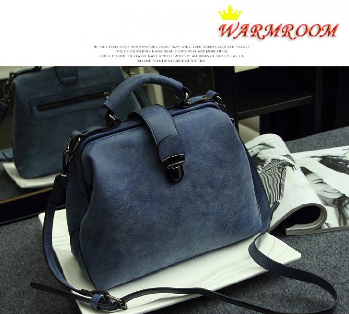 Warmroom 2017 New Retro Doctor Bag Satchel Handbag Shoulder Bag Nubuck Leather SEVEN COLORS blue f