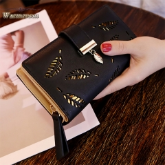 Warmroom 2018 New Ladies Wallet Fashion Handbag Empty Leaves Zipper Buckle Purse black s