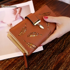Warmroom 2018 New Ladies Wallet Fashion Handbag Empty Leaves Zipper Buckle Purse Brown s