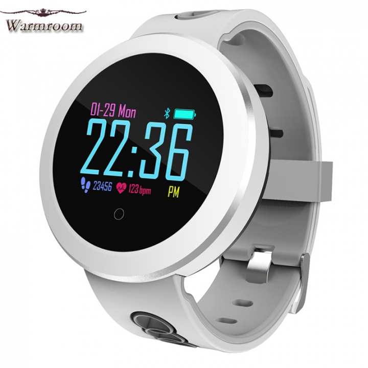 Warmroom Color Screen Smart Bracelet Heart Rate Blood Pressure Waterproof Smart Bluetooth Watch white s