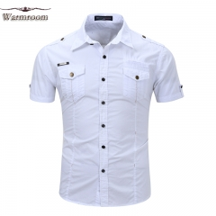 JUMEI New Casual Men's Shirts Short Sleeved  Military Shirts Pure Cotton For Work Outdoors white xxl