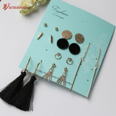 JUMEI  8 Pair Simple Ladies Earrings Metals Tassels Gold-plated Luxurious Jewelry for Women Gold s