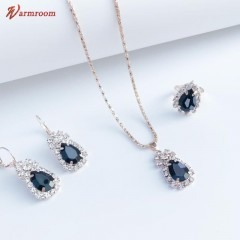 JUMEI Hot Selling 3 Pcs Necklace Earrings Ring Alloy Diamond luxurious Jewelry for Women Black s
