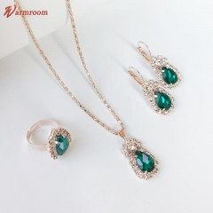 JUMEI Hot Selling 3 Pcs Necklace Earrings Ring Alloy Diamond Luxurious Jewelry For Women Green s