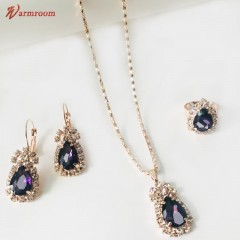 JUMEI Hot Selling 3 Pcs Necklace Earrings Ring Alloy Diamond Luxurious Jewelry For Women Puzzle s