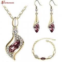 JUMEI 3 Pieces Diamond Necklace Earrings Bracelet Kits Water Drop Fashion Jewelry For Women Red s