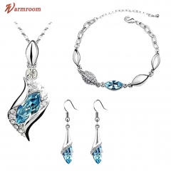JUMEI 3 Pieces Diamond Necklace Earrings Bracelet Kits Water Drop Fashion Jewelry For Women Light blue s