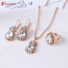 JUMEI 3 Pcs Hot Selling Women Necklace Earrings Rings Suit Diamond Luxurious Jewellery Accessroies silvery s