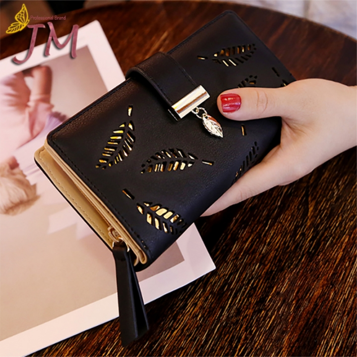 JUMEI New Style Quality Leather Women Wallets Hollowed Leaf Ladies Handbags Fashion Girl Accessories black s