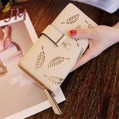 JUMEI New Style Quality Leather Women Wallets Hollowed Leaf Ladies Handbags Fashion Girl Accessories pink s