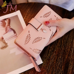 JUMEI New Style Quality Leather Women Wallets Hollowed Leaf Ladies Handbags Fashion Girl Accessories khaki s