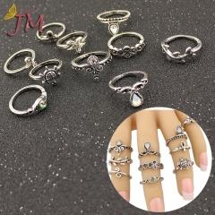 JUMEI 10 Pcs Retro Style Wmen Rings Set Tortoise Starfish Metal Fashion Girl Jewellery gold s