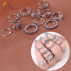 JUMEI 11 Pcs New Style Hollow Rings Set Carved Flowers Sun Moon Silver Jewellery Kit For Women gold s