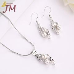 JUMEI 2 Pcs Hot Selling Women Necklace Earrings Set Pear Diamond Jewellery Kits For Wedding Gray s