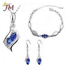 JUMEI 3 Pieces Diamond Necklace Earrings Bracelet Kits Water Drop Fashion Jewelry For Women Blue s