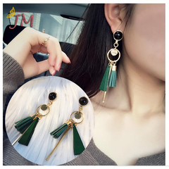 JUMEI 1 Pair Youthful Ladies Earrings Tassels Leaf Fashion Ear Studs Women Jewellery Accessories red s