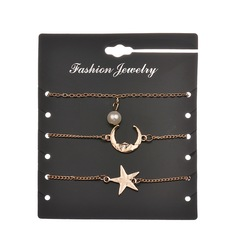 JUMEI 3 Pcs New Fashion Gold Bracelet Kit Pearl Moon Star Hand Chain Jewellery Set For Girl gold s